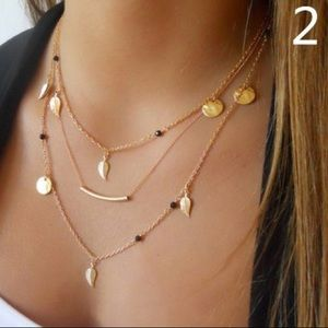 Gold leaf layered choker necklace
